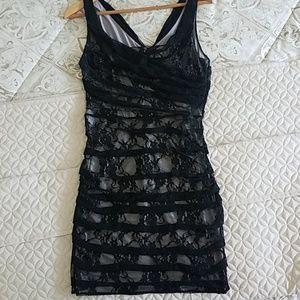Express Black Lace Stretch Minidress